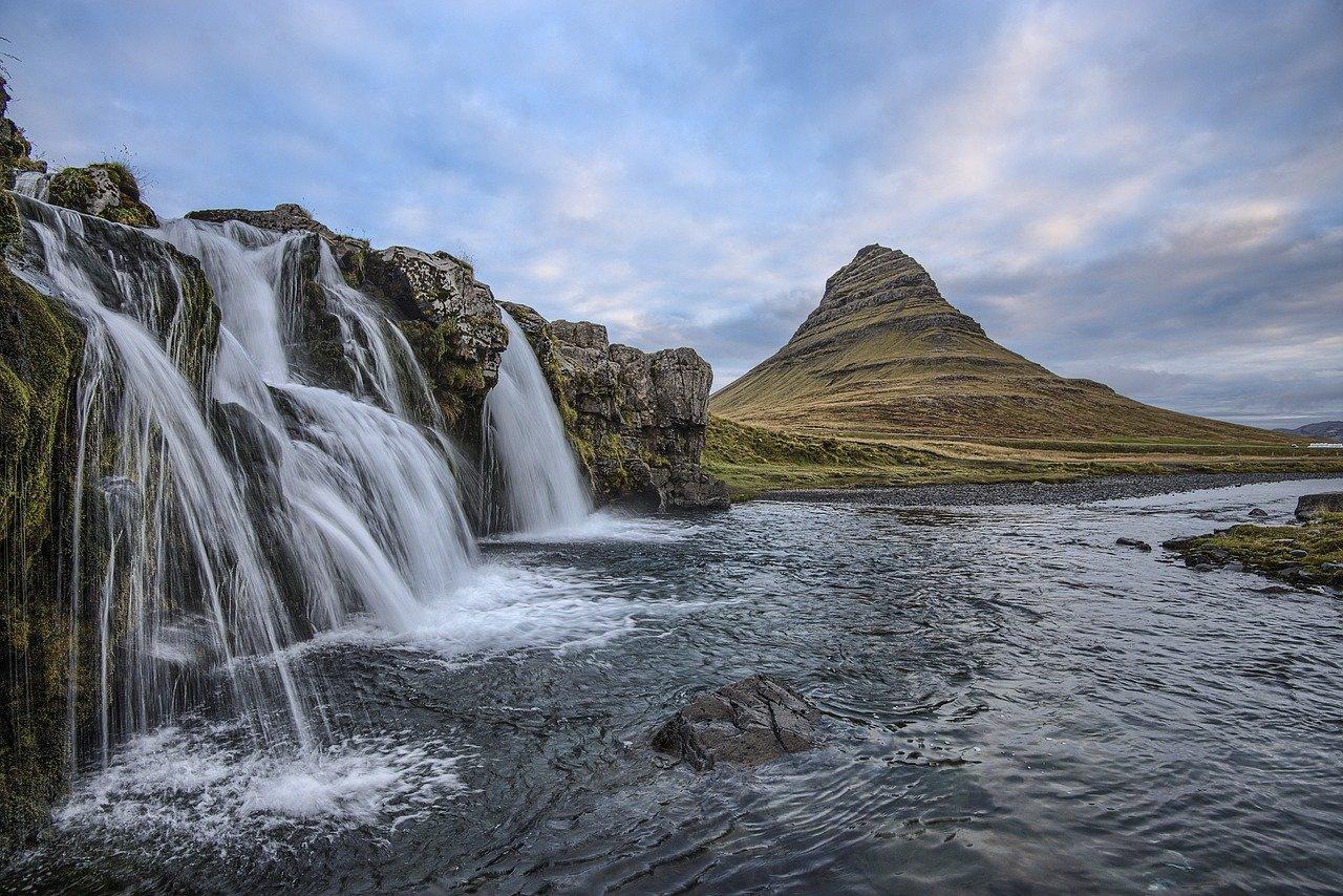 cascade, iceland, landscape